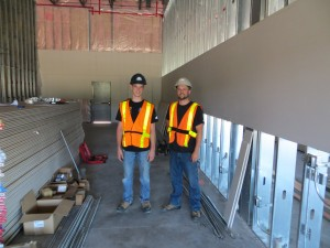 CKRHS student Patrick Duggan & his mentor Dave Sewards (Fairline Electric) on a commercial site in New Minas.