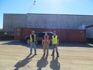 Pictou Academy student Taylor Doucet and his mentors Mark Delory & Gordon Peters (Atlantica Mechanical) on site in New Glasgow.