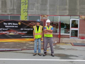 Building Futures student Evan Swinimar (FHCS) and Jim Fewer (rcs Construction) on site in Tantallon.