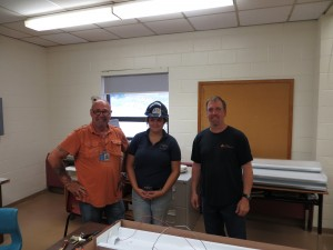 Building Futures student MaKayla Smith (CPA) and Tom Drury (HRSB) on site at St. Agnes Jr High School (Halifax).